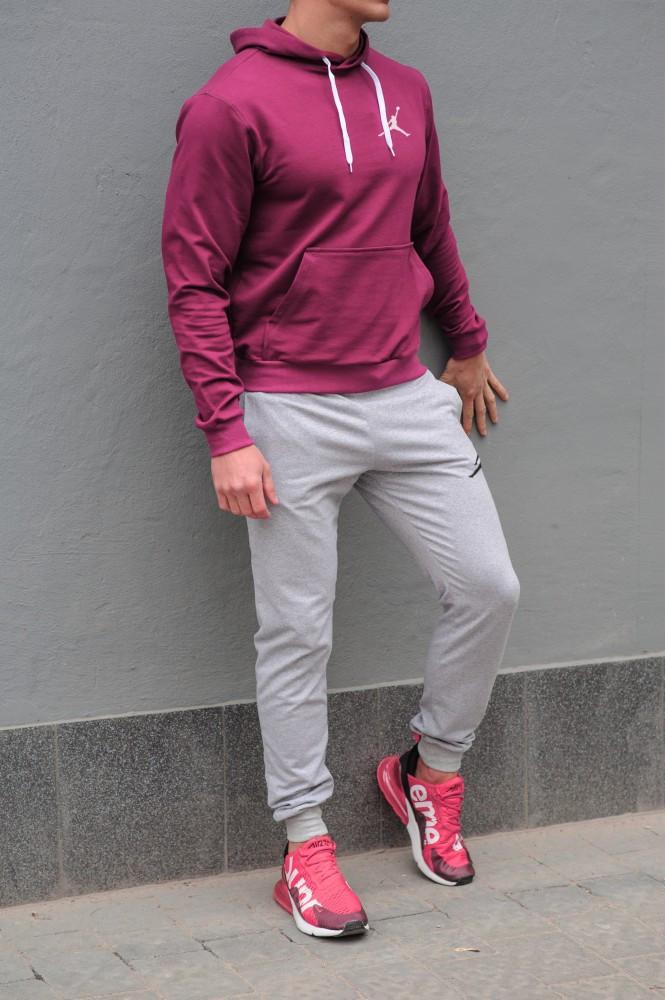 Мужской спортивный костюм Jordan (Джордан), бордовая худи и серые штаны весна-осень (реплика)