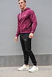 Чоловічий спортивний костюм Under Armour (Андер Армор), бордова худі і чорні штани весна-осінь (репліка), фото 2