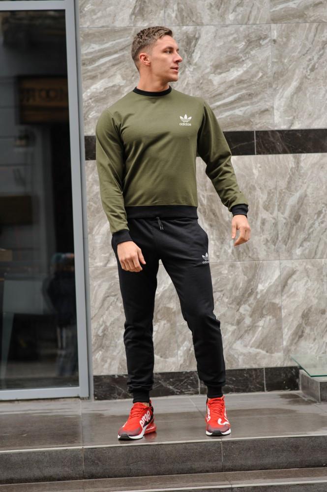 Чоловічий спортивний костюм Adidas (Адідас), оливковий світшот (хакі) і чорні штани весна-осінь (репліка)