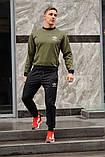 Чоловічий спортивний костюм Adidas (Адідас), оливковий світшот (хакі) і чорні штани весна-осінь (репліка), фото 2