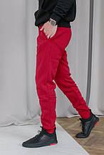 Мужские бордовые спортивные штаны теплые на флисе (осень-зима)