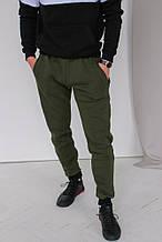 Оливковые (хаки) мужские теплые спортивные штаны на флисе (осень-зима)