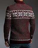 Бордовий чоловічий светр на блискавці з класичним орнаментом, фото 2