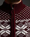 Бордовий чоловічий светр на блискавці з класичним орнаментом, фото 3