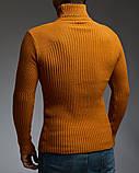 Теплый мужской гольф цвет горчичный, фото 2