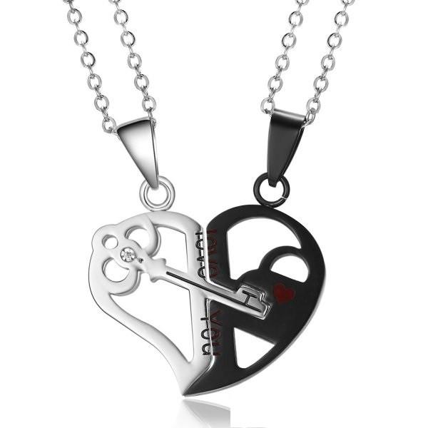 Набір з двох ланцюжків з кулонами Ключик від серця 1998
