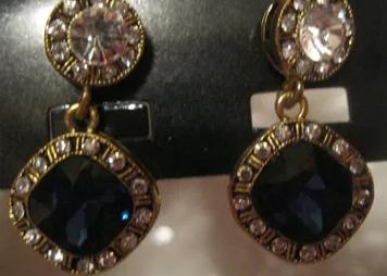 СЕРЬГИ сережки гвоздики один квадрат бижутерия бирюзово синие камни новые очень красивые новая коллекция