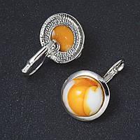 Серьги Янтарь (синт) гладкая плоская оправа круглый камень 2см L-3,1см