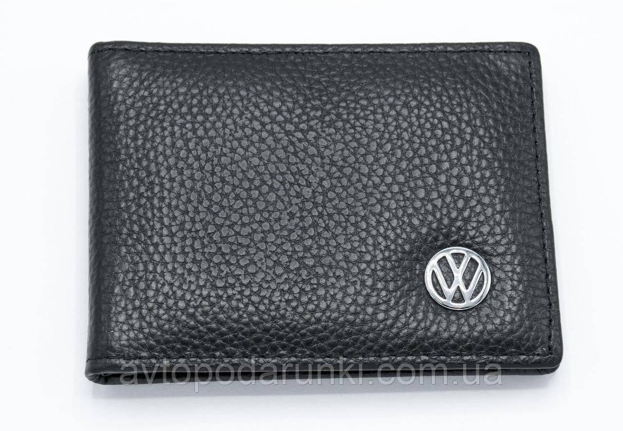 Кожаная обложка для прав с логотипом VOLKSWAGEN  (кожа черная, структурная) VW04-04