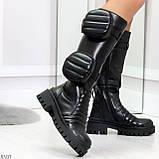 Высокие люксовые черные женские сапоги с сумочками кошельками карманами Bike Style, фото 4