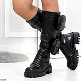 Высокие люксовые черные женские сапоги с сумочками кошельками карманами Bike Style, фото 5