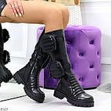 Высокие люксовые черные женские сапоги с сумочками кошельками карманами Bike Style, фото 9