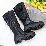 Высокие люксовые черные женские сапоги с сумочками кошельками карманами Bike Style, фото 10