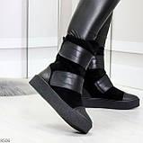 Крутые удобные черные женские ботинки из натуральной кожи - замши на липучках, фото 2
