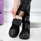 Крутые удобные черные женские ботинки из натуральной кожи - замши на липучках, фото 3