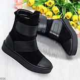Крутые удобные черные женские ботинки из натуральной кожи - замши на липучках, фото 5