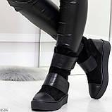 Крутые удобные черные женские ботинки из натуральной кожи - замши на липучках, фото 6