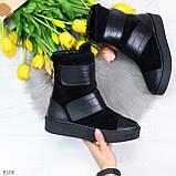 Крутые удобные черные женские ботинки из натуральной кожи - замши на липучках, фото 9