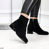 Черные демисезонные замшевые ботинки ботильоны на устойчивом каблуке, фото 2