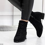 Черные демисезонные замшевые ботинки ботильоны на устойчивом каблуке, фото 3