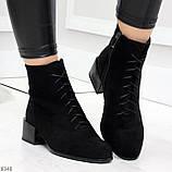 Черные демисезонные замшевые ботинки ботильоны на устойчивом каблуке, фото 4