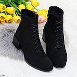 Черные демисезонные замшевые ботинки ботильоны на устойчивом каблуке, фото 5