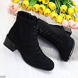 Черные демисезонные замшевые ботинки ботильоны на устойчивом каблуке, фото 6