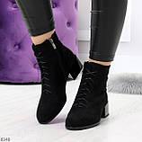 Черные демисезонные замшевые ботинки ботильоны на устойчивом каблуке, фото 7
