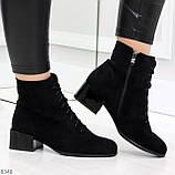 Черные демисезонные замшевые ботинки ботильоны на устойчивом каблуке, фото 8