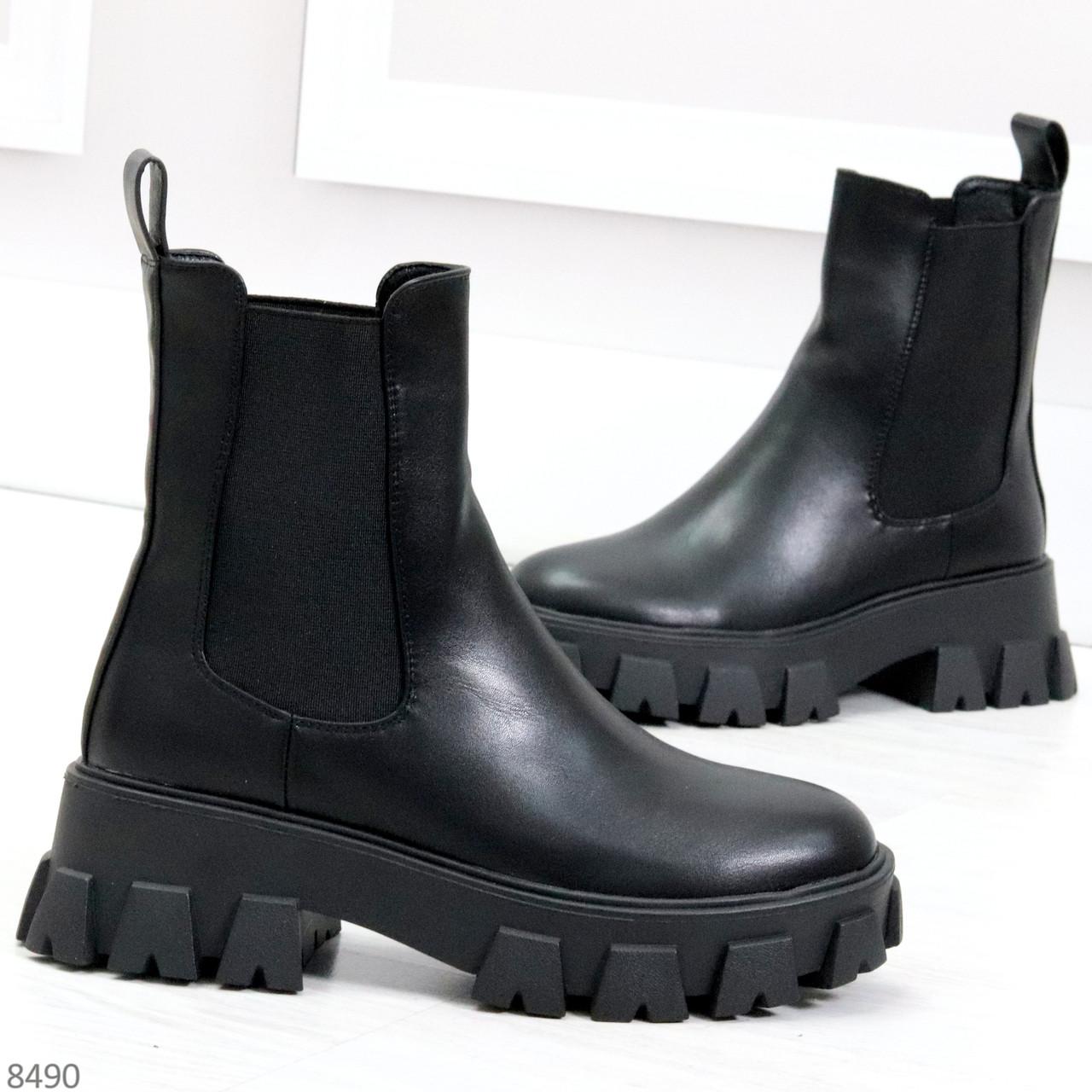 Эффектные брутальные черные женские высокие ботинки челси на флисе