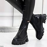 Эффектные брутальные черные женские высокие ботинки челси на флисе, фото 2