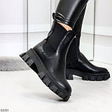 Эффектные брутальные черные женские высокие ботинки челси на флисе, фото 3