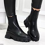 Эффектные брутальные черные женские высокие ботинки челси на флисе, фото 4