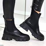 Эффектные брутальные черные женские высокие ботинки челси на флисе, фото 5