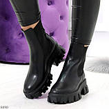 Эффектные брутальные черные женские высокие ботинки челси на флисе, фото 6