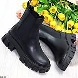 Эффектные брутальные черные женские высокие ботинки челси на флисе, фото 7