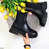 Эффектные брутальные черные женские высокие ботинки челси на флисе, фото 8