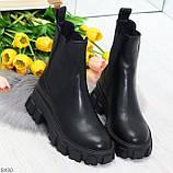 Эффектные брутальные черные женские высокие ботинки челси на флисе, фото 9