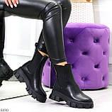 Эффектные брутальные черные женские высокие ботинки челси на флисе, фото 10