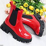 Эффектные брутальные красные лаковые женские высокие ботинки челси на флисе, фото 7