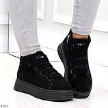Удобные молодежные замшевые женские черные кроссовки на шнуровке, фото 2