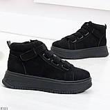 Удобные молодежные замшевые женские черные кроссовки на шнуровке, фото 3