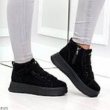 Удобные молодежные замшевые женские черные кроссовки на шнуровке, фото 5