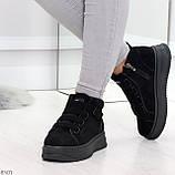 Удобные молодежные замшевые женские черные кроссовки на шнуровке, фото 6