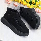 Удобные молодежные замшевые женские черные кроссовки на шнуровке, фото 7