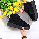 Удобные молодежные замшевые женские черные кроссовки на шнуровке, фото 9