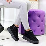 Удобные молодежные замшевые женские черные кроссовки на шнуровке, фото 10