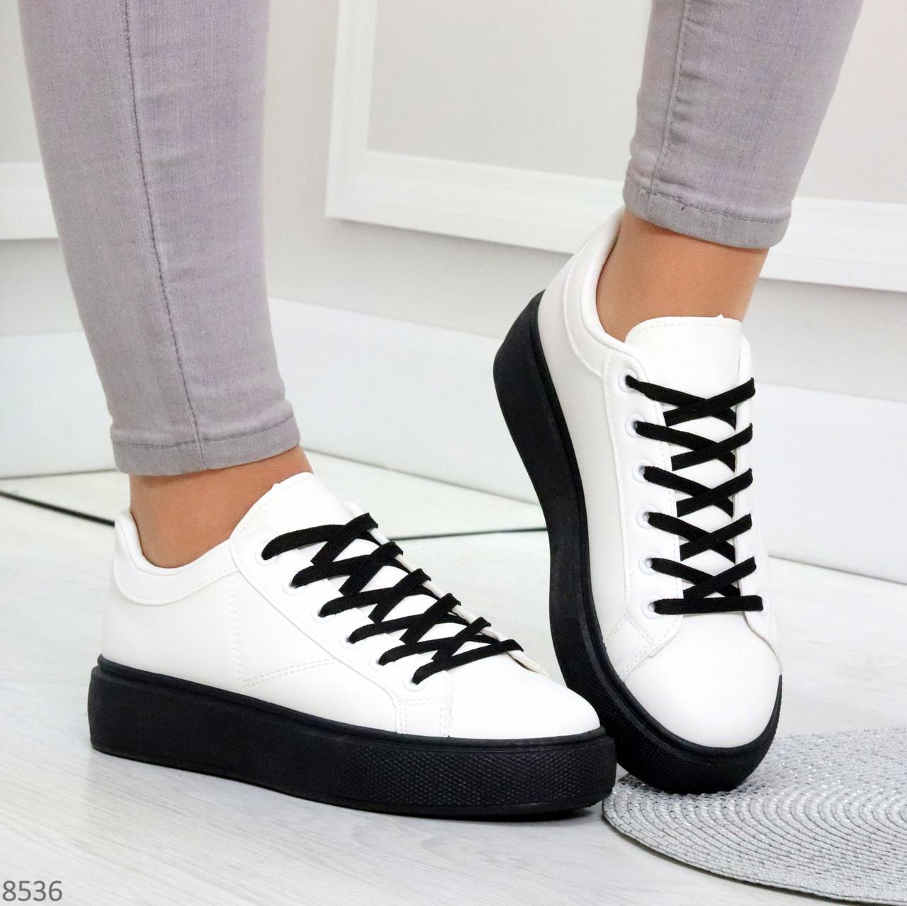 Модные черно - белые женские кроссовки кеды криперы на каждый день