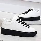 Модные черно - белые женские кроссовки кеды криперы на каждый день, фото 2