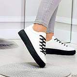 Модные черно - белые женские кроссовки кеды криперы на каждый день, фото 5